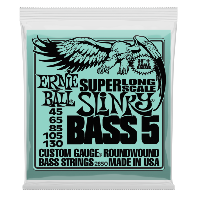 Ernie Ball 2850 Nickel Wound Super Long Scale Slinky 5 String Bass Strings - .045-.130