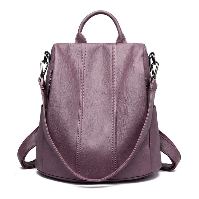 Women Waterproof anti-theft Leather Backpacks