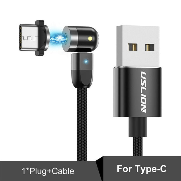 Magnetic 360º+180º Rotation Type C USB Fast Cable Charger For Mobile Phone