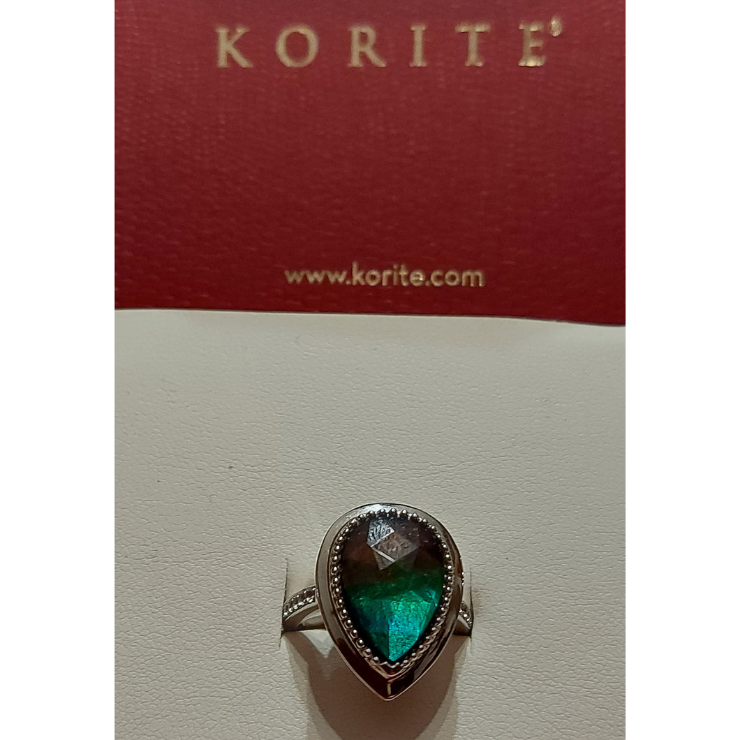 Ammolite Sterling silver Ring Sz 6 1/4