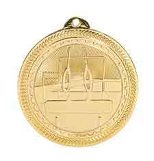 "2"" Bright Gold Gymnastics Laserable BriteLazer Medal"