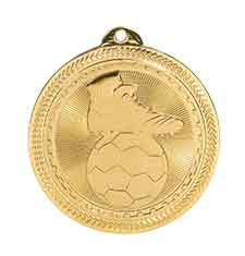 "2"" Bright Gold Soccer Laserable BriteLazer Medal"