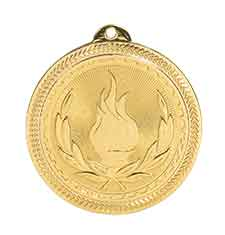 "2"" Bright Gold Victory Laserable BriteLazer Medal"