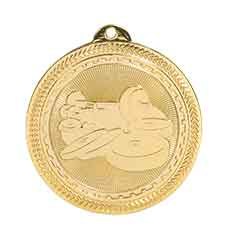 "2"" Bright Gold Weightlifting Laserable BriteLazer Medal"