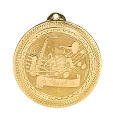 "2"" Bright Gold Band Laserable BriteLazer Medal"