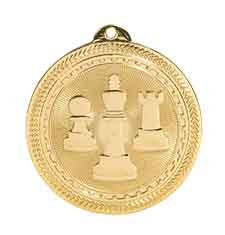 "2"" Bright Gold Chess Laserable BriteLazer Medal"