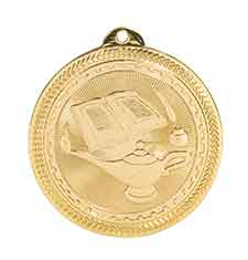 "2"" Bright Gold Lamp of Knowledge Laserable BriteLazer Medal"