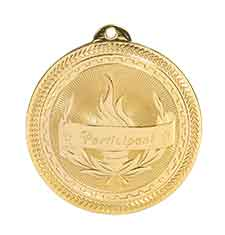 "2"" Bright Gold Participant Laserable BriteLazer Medal"