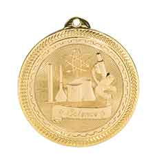 "2"" Bright Gold Science Laserable BriteLazer Medal"