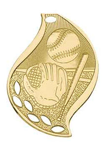 "2 1/4"" Bright Gold Baseball/Softball Laserable Flame Medal"