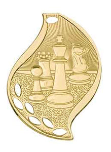 "2 1/4"" Bright Gold Chess Laserable Flame Medal"