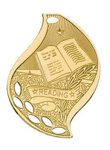"2 1/4"" Bright Gold Reading Laserable Flame Medal"