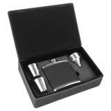 6 oz. Black/Silver Laserable Leatherette Flask Gift Set