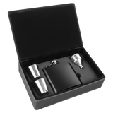 6 oz. Black Stainless Steel Flask Set in Black/Silver Laserable Leatherette Box