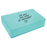 6 oz. Teal Laserable Leatherette Flask Gift Set
