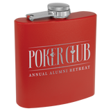 6 oz. Matte Red Powder Coated Laserable Stainless Steel Flask