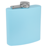 6 oz. Matte Light Blue Powder Coated Laserable Stainless Steel Flask