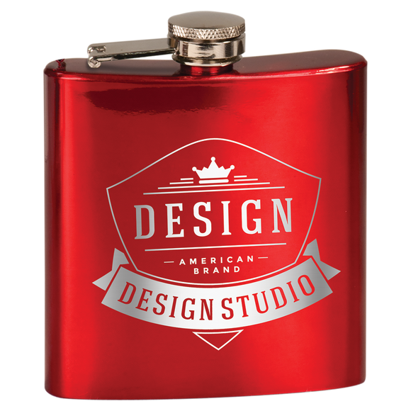 6 oz. Gloss Red Laserable Stainless Steel Flask
