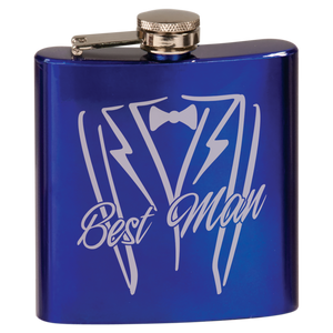 6 oz. Gloss Blue Laserable Stainless Steel Flask