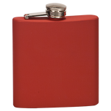 6 oz. Matte Red Laserable Stainless Steel Flask