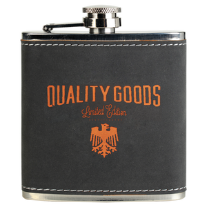 6 oz. Dark Gray/Orange Textured Stainless Steel Flask