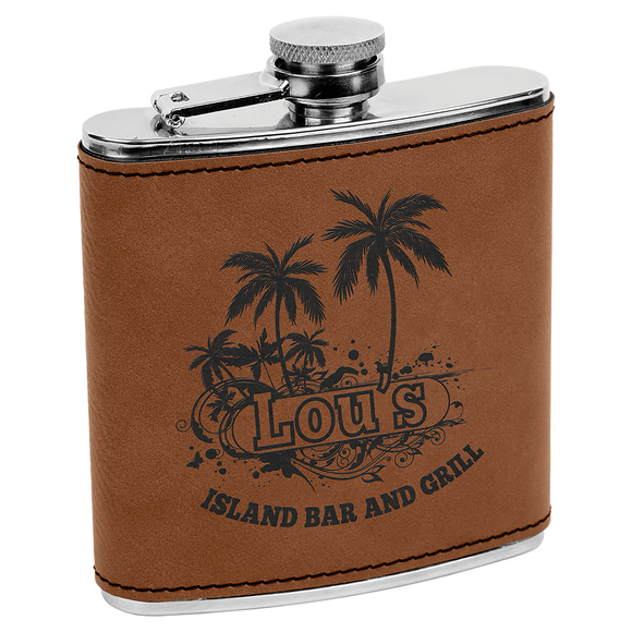 6 oz. Dark Brown Laserable Leatherette Stainless Steel Flask