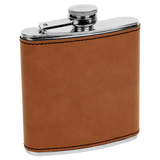6 oz. Rawhide Laserable Leatherette Stainless Steel Flask