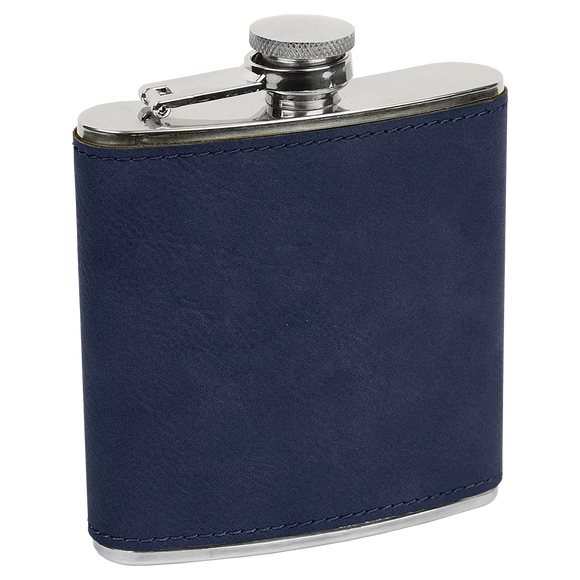 6 oz. Blue/Black Laserable Leatherette Stainless Steel Flask