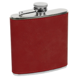 6 oz. Rose Laserable Leatherette Stainless Steel Flask
