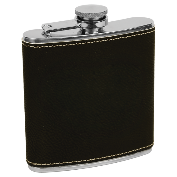 6 oz. Black/Silver Laserable Leatherette Stainless Steel Flask