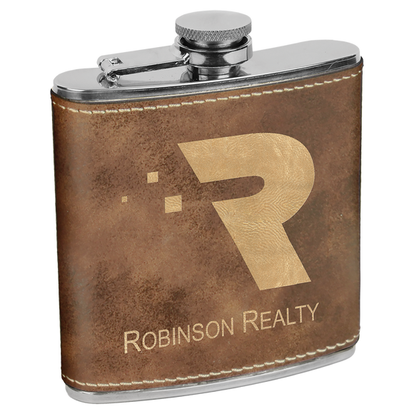 6 oz. Rustic/Gold Laserable Leatherette Stainless Steel Flask