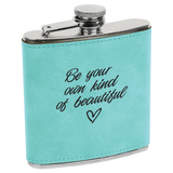 6 oz. Teal Laserable Leatherette Stainless Steel Flask
