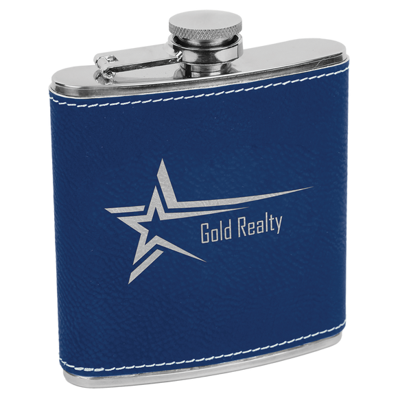 6 oz. Blue/Silver Laserable Leatherette Stainless Steel Flask