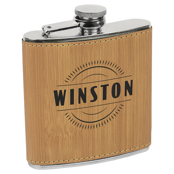 6 oz. Bamboo Laserable Leatherette Stainless Steel Flask