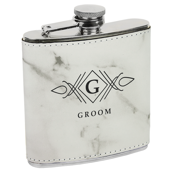 6 oz.White Marble Laserable Leatherette Stainless Steel Flask