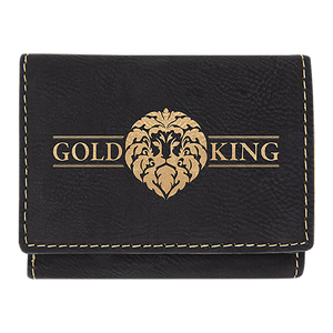 "3"" x 4"" Black/Gold Laserable Leatherette Trifold Wallet"