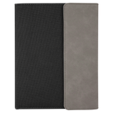 "7"" x 9"" Gray Laserable Leatherette / Black Canvas Small Portfolio with Notepad"
