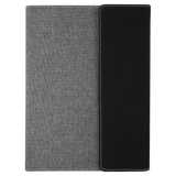 "7"" x 9"" Black/Silver Laserable Leatherette w/Gray Canvas Portfolio with Notepad"