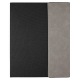 "9 1/2"" x 12"" Gray Laserable Leatherette w/Black Canvas Portfolio w/Notepad"