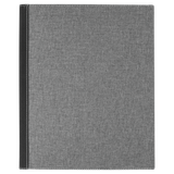 "9 1/2""x12"" Black/Silver Laserable Leatherette w/Gray Canvas Portfolio w/Notepad"