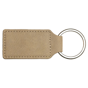 "2 3/4"" x 1 1/4"" Light Brown Laserable Leatherette Rectangle Keychain"