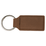 "2 3/4"" x 1 1/4"" Dark Brown Laserable Leatherette Rectangle Keychain"
