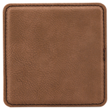 "4"" x 4"" Square Dark Brown Laserable Leatherette Coaster"