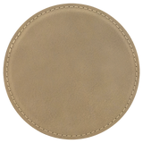"4"" Round Light Brown Laserable Leatherette Coaster"