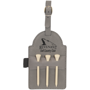 "5"" x 3 1/4"" Gray Laserable Leatherette Golf Bag Tag with 3 Wooden Tees"