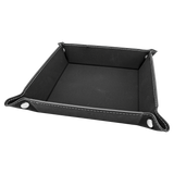 "6"" x 6"" Black/Silver Laserable Leatherette Snap Up Tray with Silver Snaps"
