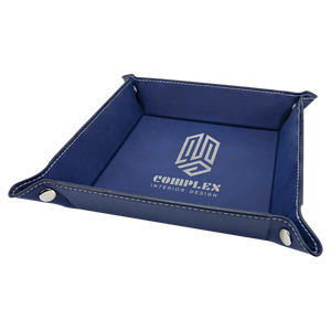 "6"" x 6"" Blue/Silver Laserable Leatherette Snap Up Tray with Silver Snaps"