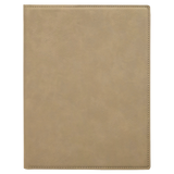 "7"" x 9"" Light Brown Laserable Leatherette Small Portfolio with Notepad"