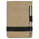 "3 1/4"" x 4 3/4"" Light Brown Laserable Leatherette Mini Notepad with Pen"