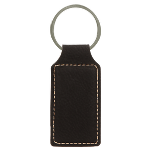 "2 3/4"" x 1 1/4"" Black/Gold Laserable Leatherette Rectangle Keychain"